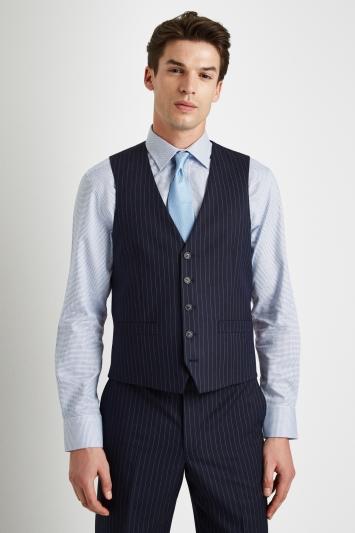 Moss Esq. Regular Fit Navy Stripe Waistcoat