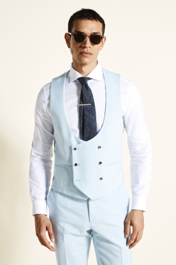 Moss London Slim Fit Sky Blue Double Breasted Waistcoat