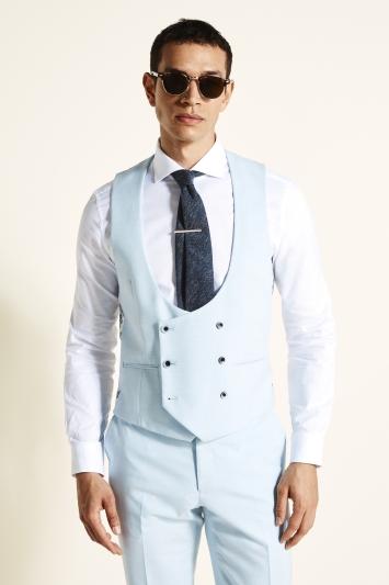 Moss London Slim Fit Sky Blue Double Breasted Waistcoat