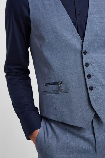 HUGO by Hugo Boss Light Blue Nailhead Waistcoat