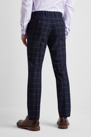Moss London Slim Fit Boucle Windowpane Trousers