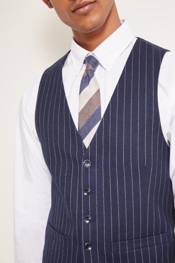 Moss London Slim Fit Navy Stripe Waistcoat