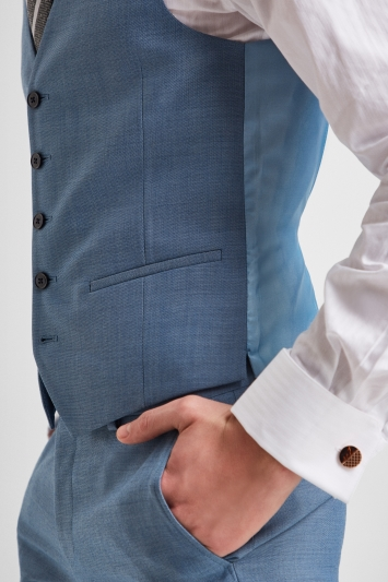 DKNY Slim Fit Light Blue Texture Waistcoat