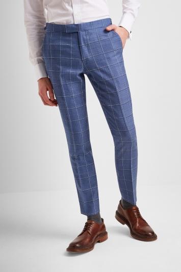 Moss London Premium Slim Fit Light Blue Windowpane Lightweight Jacket