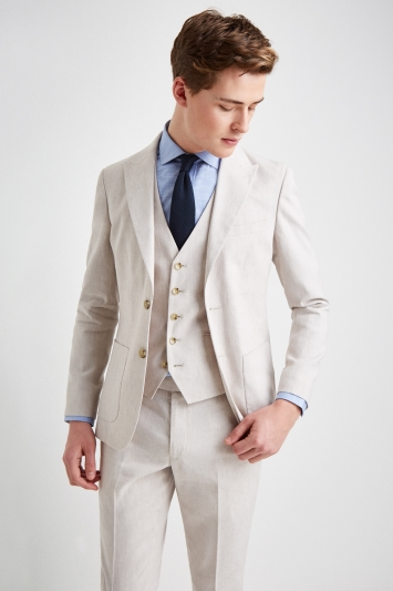 Moss London Slim Fit Beige Lightweight Linen Jacket