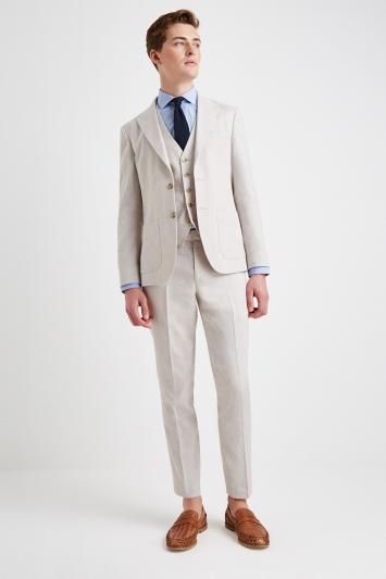 Moss London Slim Fit Beige Lightweight Linen Jacket