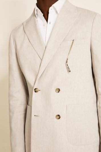 Moss London Slim Fit Beige Linen Double Breasted Lightweight Jacket