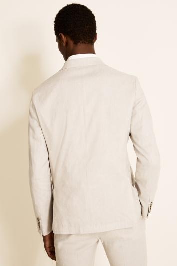 Moss London Slim Fit Beige Linen Double Breasted Lightweight Jacket