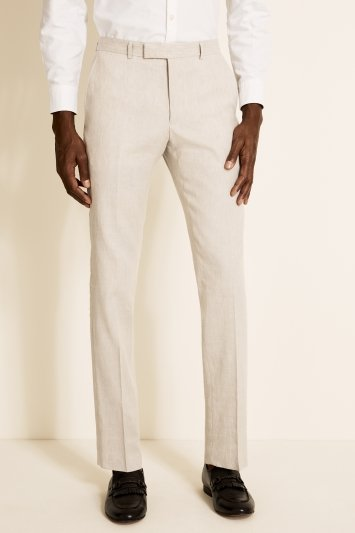 Moss London Slim Fit Beige Linen Trousers