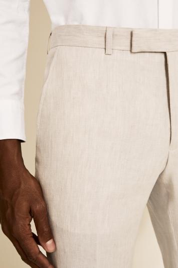 Moss London Slim Fit Beige Linen Trousers