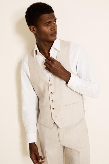 Moss London Slim Fit Beige Linen Waistcoat