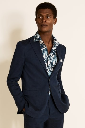 Slim Fit Navy Linen Jacket