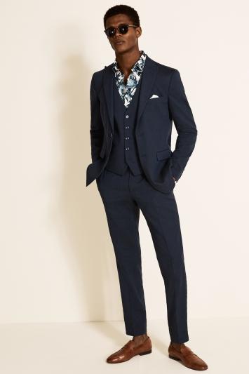 Slim Fit Navy Linen Jacket