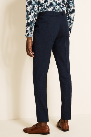 Moss London Slim Fit Navy Linen Trousers