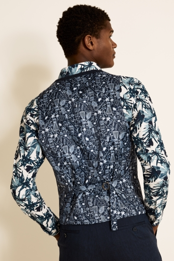 Moss London Slim Fit Midnight Linen Waistcoat
