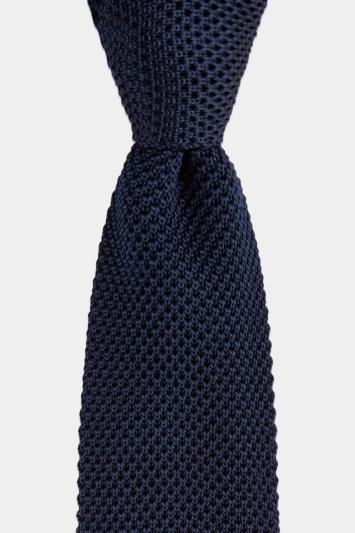 Navy Knitted Silk Tie