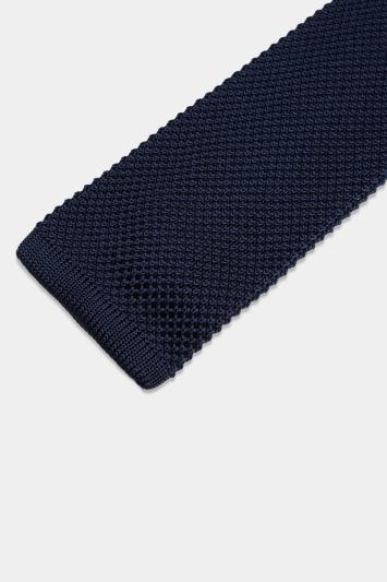 Moss 1851 Navy Knitted Silk Tie