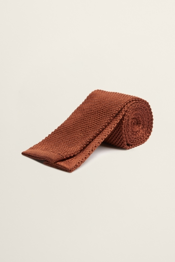 Rust Knitted Silk Tie