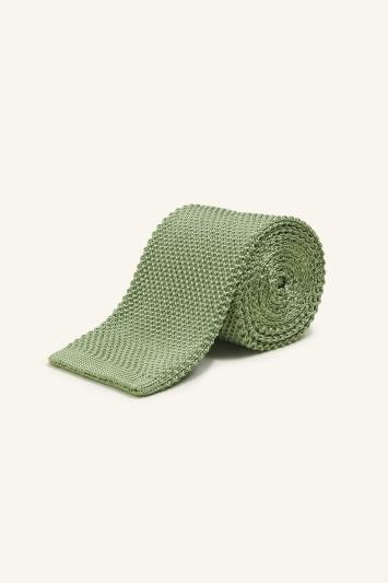 Moss 1851 Light Green Knitted Silk Tie