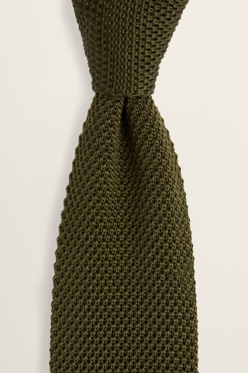 Olive Knitted Silk Tie