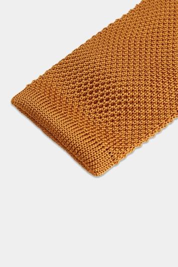 Moss 1851 Mustard Knitted Silk Tie