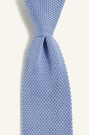 Blue Knitted Silk Tie