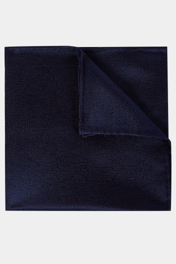 Moss 1851 Navy Melange Silk Pocket Square