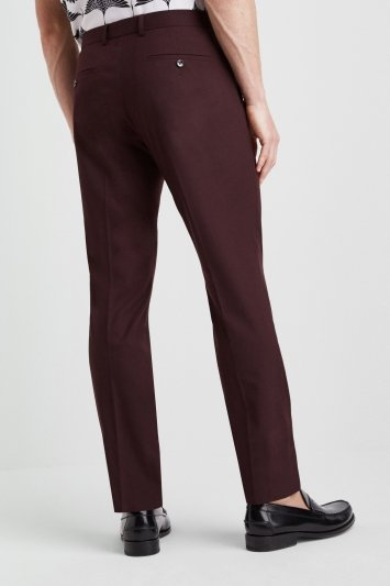 Moss London Slim Fit Burgundy Trousers