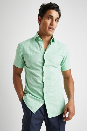 Moss 1851 Tailored Fit Green Short Sleeve Linen Shirt