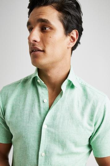 Moss 1851 Tailored Fit Green Short Sleeve Linen Shirt