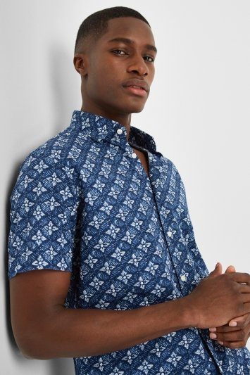 Moss 1851 Tailored Fit Indigo Short Sleeved Print Shirt