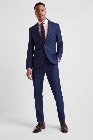 Moss London Slim Fit Blue Stretch Jacket