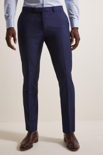 Moss London Slim Fit Blue Stretch Trousers