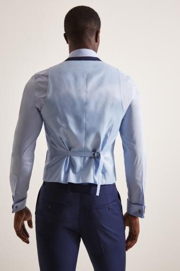 Moss London Slim Fit Blue Stretch Waistcoat