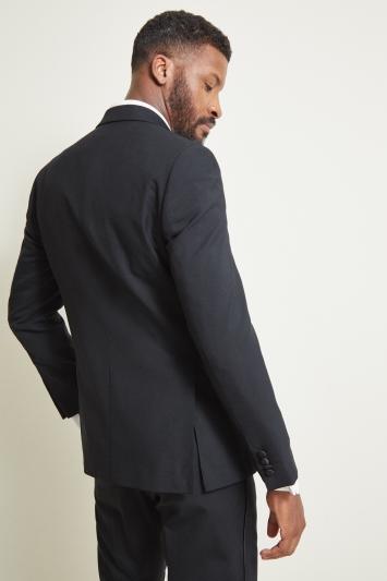Moss 1851 Tailored Fit Black Peak Lapel Dress Jacket