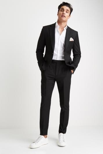 Moss London Slim Muscle Fit Black Suit