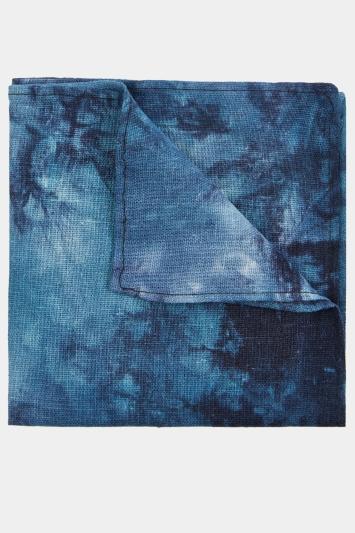 Moss London Blue Tonal Tie-Dye Pocket Square