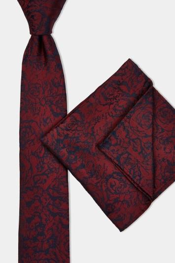 Wine & Navy Rose Tie & Hank Set