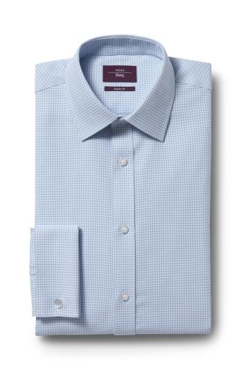 Moss Esq. Regular Fit Aqua Double Cuff Dobby Shirt