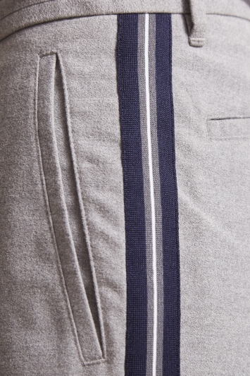 Moss London Slim Fit Grey With Blue Stripe Trousers