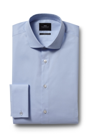 Moss London Skinny Fit Sky Double Cuff Stretch Shirt