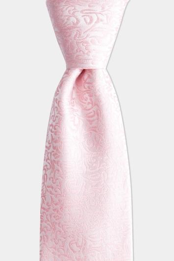 Moss 1851 Pink Leaf Pattern Silk Tie