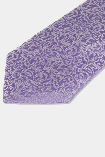 Moss 1851 Lilac & Silver Leaf Pattern Silk Tie