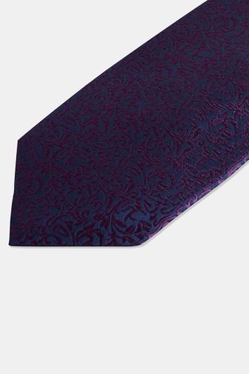 Moss 1851 Navy & Purple Leaf Pattern Silk Tie