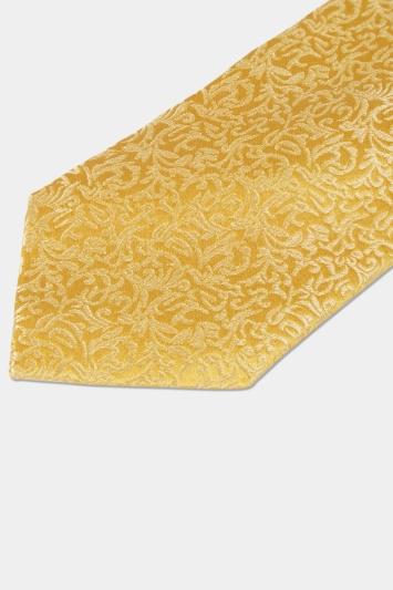Moss 1851 Yellow Tonal Leaf Pattern Silk Tie
