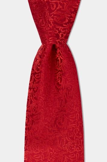 Moss 1851 Red Tonal Leaf Pattern Silk Tie