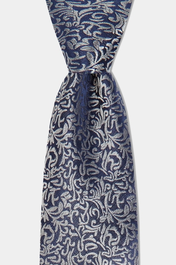 Moss 1851 Navy & Silver Leaf Pattern Silk Tie