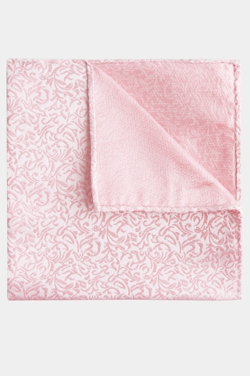 Moss 1851 Pink Leaf Pattern Pocket Square