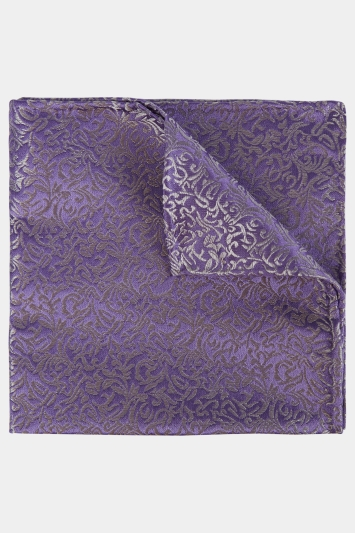 Moss 1851 Lilac & Silver Leaf Pattern Pocket Square