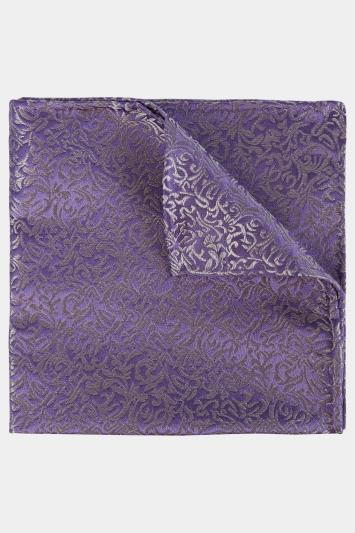 Moss 1851 Lilac & Silver Leaf Pattern Pocket Square